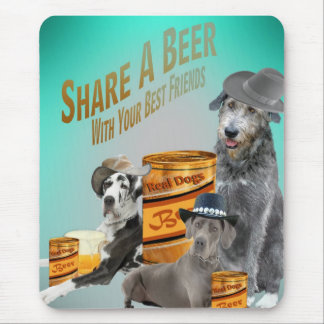 Great Dane & Irish Wolfhound Share A Beer Gifts Mouse Pad