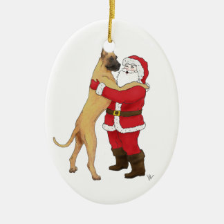 Great Dane Jowly Christmas Greeting Ceramic Ornament