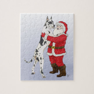 Great Dane Jowly Christmas Greeting Jigsaw Puzzle