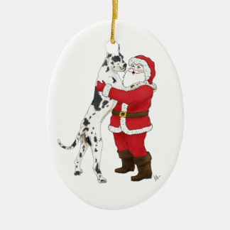 Great Dane Jowly Christmas Greeting Ornaments