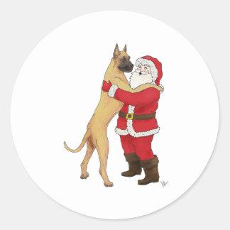 Great Dane Jowly Christmas Greeting Classic Round Sticker