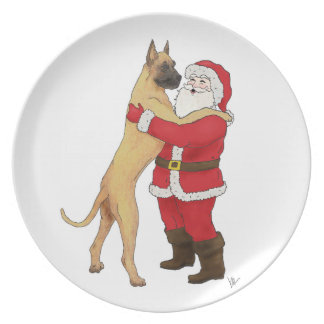 Great Dane Jowly Christmas Plate
