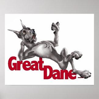 Great Dane Laid Back Black Poster