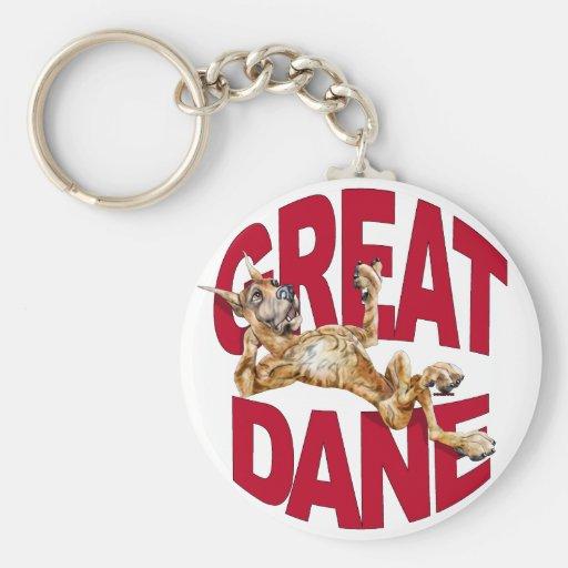 Great Dane Laid Back Brindle Basic Round Button Keychain