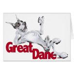 Great Dane Laid Back Harlequin Greeting Card