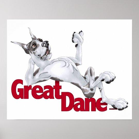 Great Dane Laid Back Harlequin Poster