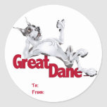 Great Dane Laid Back Harlequin Stickers