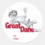 Great Dane Laid Back MerleB UC Round Stickers