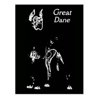 GREAT DANE LINE ART DESIGN POSTCARD