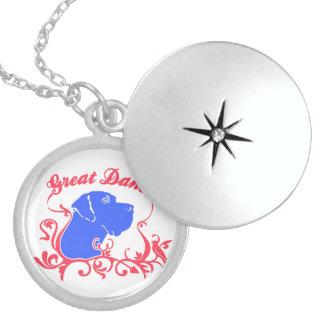 Great Dane Logo Round Locket Necklace