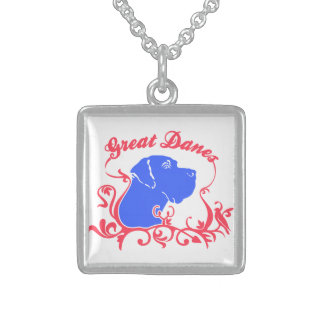 Great Dane Logo Sterling Silver Necklace