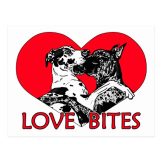Great Dane Love Bites Postcard