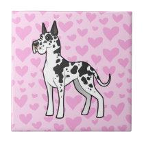Great Dane Love (cropped) Ceramic Tile