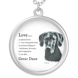 Great Dane Love Is Round Pendant Necklace
