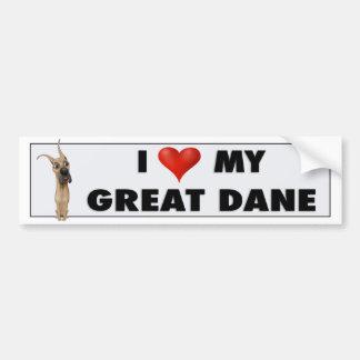 Great Dane love sticker Bumper Stickers