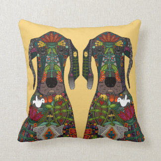 Great Dane love yellow Throw Pillow