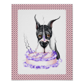 Great Dane Mantle Birthday Cake Poster