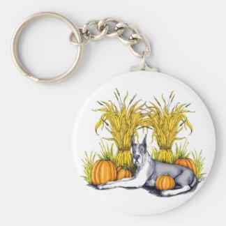Great Dane Mantle Harvest Basic Round Button Keychain