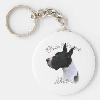 Great Dane (mantle) Mom 2 Basic Round Button Keychain