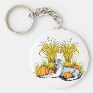 Great Dane Merle Harvest UC Basic Round Button Keychain