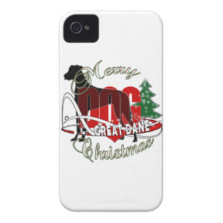 GREAT DANE MERRY CHRISTMAS iPhone 4 CASE