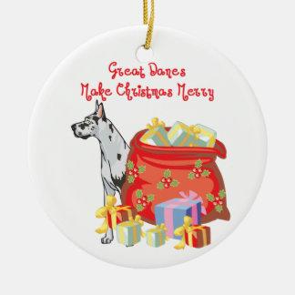 Great Dane Merry Christmas Christmas Ornaments