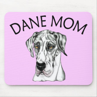 Great Dane Mom Harlequin UC Mouse Mats