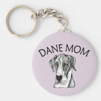 Great Dane Mom Mantle UC Basic Round Button Keychain