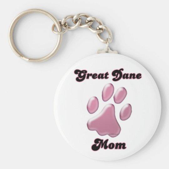 Great Dane Mom Pink Pawprint Keychain