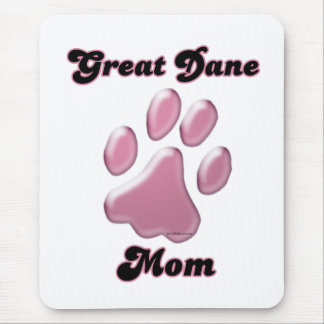 Great Dane Mom Pink Pawprint  Mouse Pad
