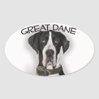 Great Dane - Natural Ears Oval Sticker