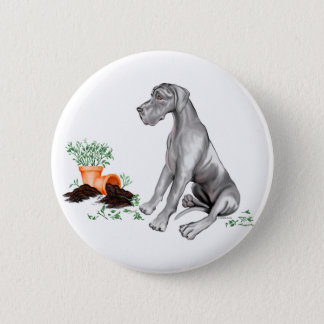 Great Dane Naughty Pup Black UC Button