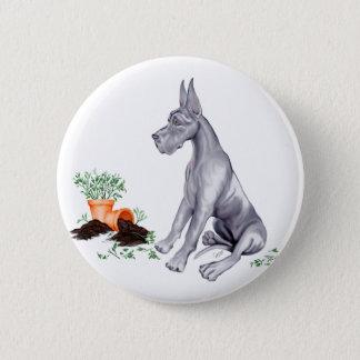 Great Dane Naughty Pup Blue Pinback Button