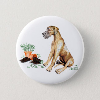 Great Dane Naughty Pup Brindle UC Pinback Button