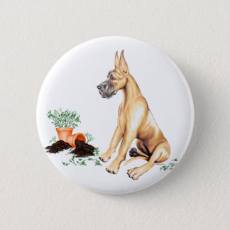 Great Dane Naughty Pup Fawn Button