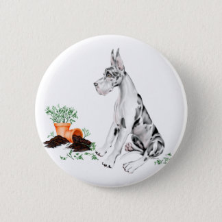 Great Dane Naughty Pup Harlequin Button