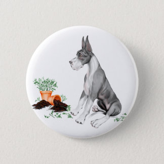 Great Dane Naughty Pup Mantle Pinback Button