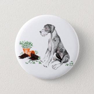 Great Dane Naughty Pup MerleB UC Pinback Button