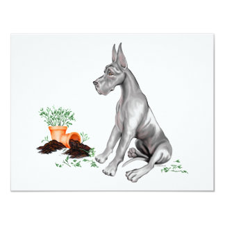 Great Dane Naughty Pup White Card