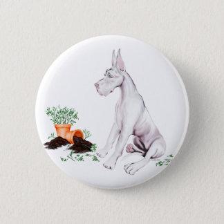 Great Dane Naughty Pup White Pinback Button