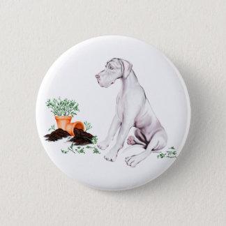 Great Dane Naughty Pup White UC Pinback Button