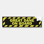 Great Dane on board black yellow caution sticker Bumper Sticker
