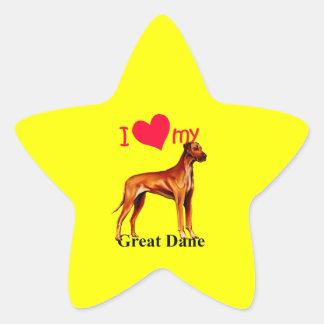 Great dane calcomanias forma de estrella