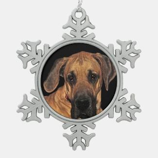 Great Dane Pewter Snowflake Ornament