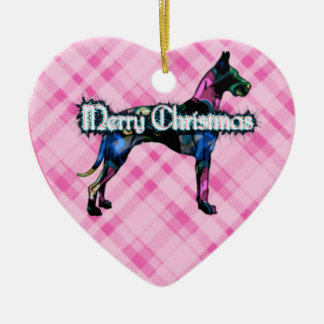 Great Dane Pink Plaid Heart Ornament