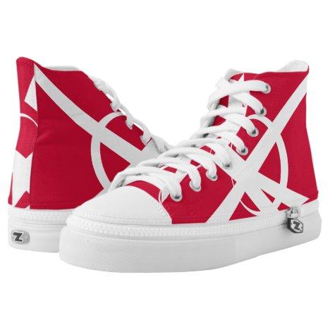 Great Dane Portal Designer Red and White Hi-Top