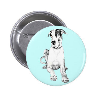 Great Dane Pouting Harlequin Buttons