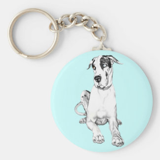 Great Dane Pouting Harlequin Keychain