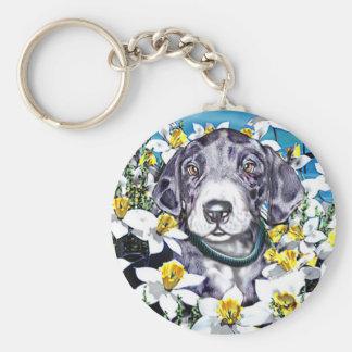 Great Dane Pup Daffodils MerleB Basic Round Button Keychain