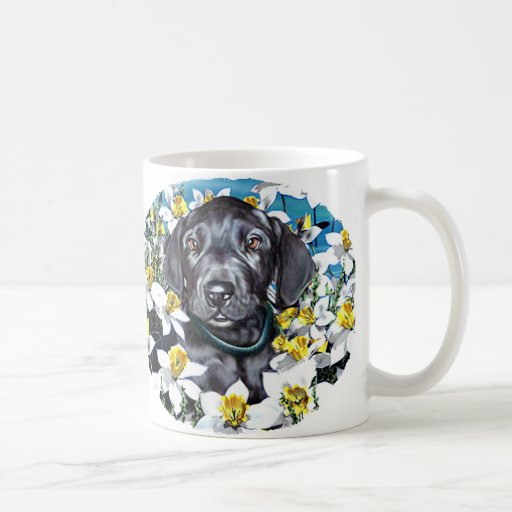 Great Dane Pup in Daffodils Black Mugs